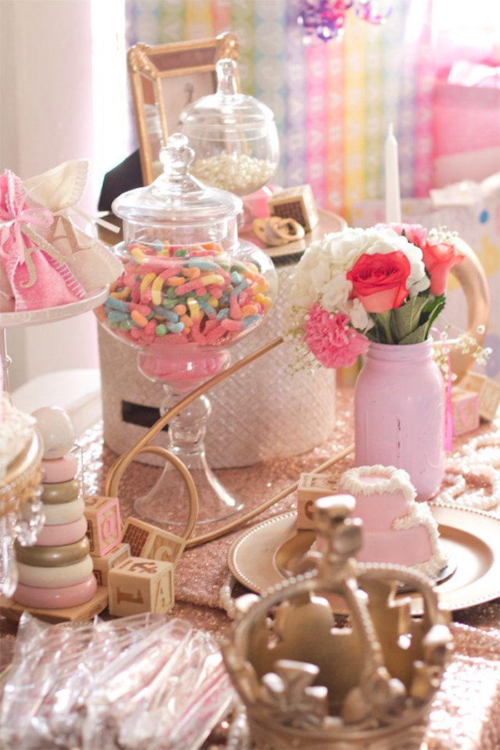 Sweets U0026 Decor Atop A Sweet Table From An Elegant Princess Baby Shower Via  Karau0027s Party Ideas | KarasPartyIdeas.com (10)