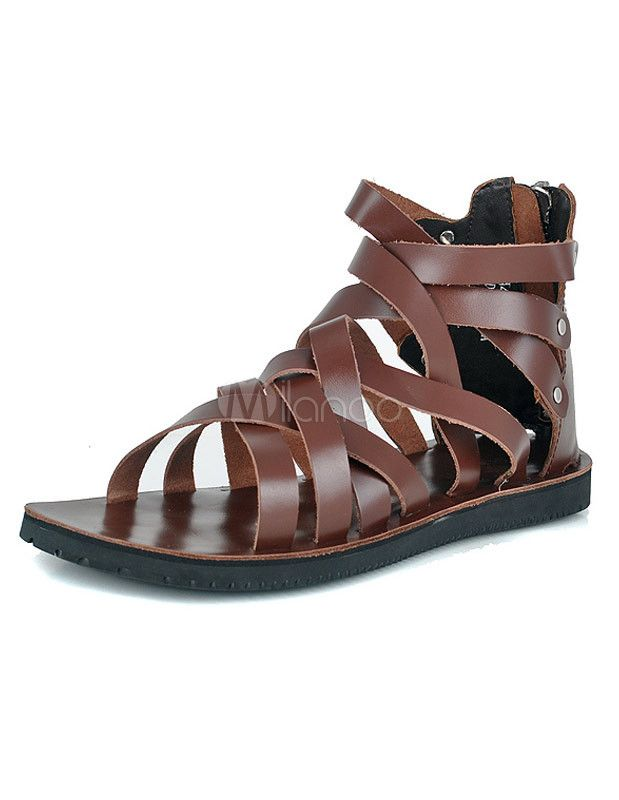 c15e96baa06aa5 Cool Zipper Strappy Cowhide Gladiator Sandals For Men | Free your ...