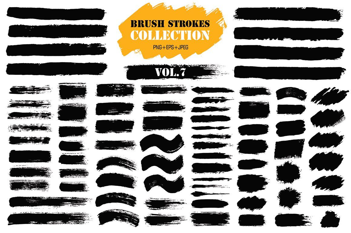 Brush Strokes Collection Vol 7 Brush Strokes Paintbrush Set Ink Splatter