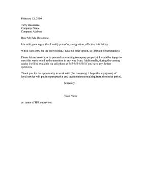 resignation letter examples short notice