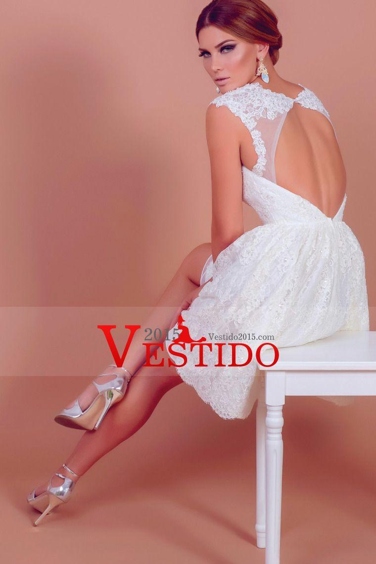 Iovely V cuello corto y Mini Lace boda de marfil viste barato ...