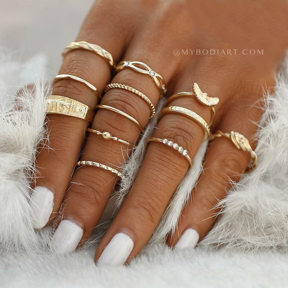 Tatianna Cute Boho Fashion Stackable Ring Set 12pcs | Boho, Teen ...