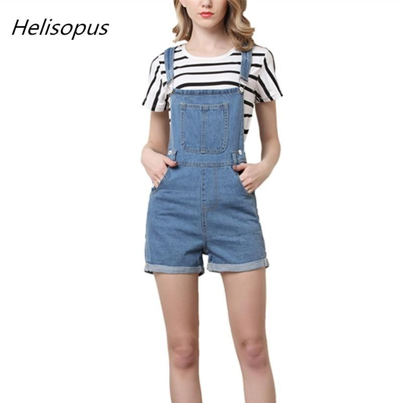 Helisopus Short Pants Denim Overalls Women Casual Jeans Romper Washed Blue Dungarees 2018 Summer One Piece Clothing is part of Clothes Casual Dungarees - piece   If you would like to see more rompers,  Please click          Description    Nonstretch denim     Classic, simple and fashion pinafore design     Multipockets     Buttoned sides     Selftie adjustable straps     Fabric    Jeans cotton (Cotton + Spandex +Polyester )    Color available    Washed blue    Size available    M 4XL