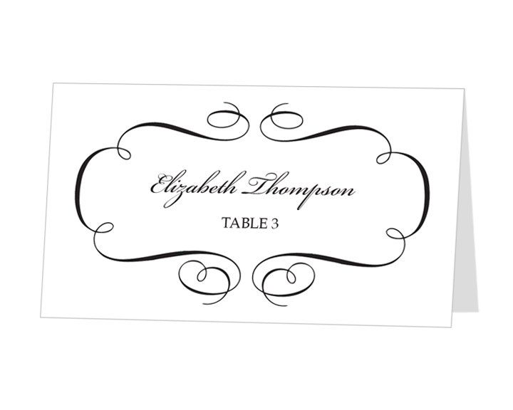 Avery Place Card Template Calligraphic Flourish Design 9 50 Via Etsy Printable Place Cards Wedding Card Templates Printable Place Card Template