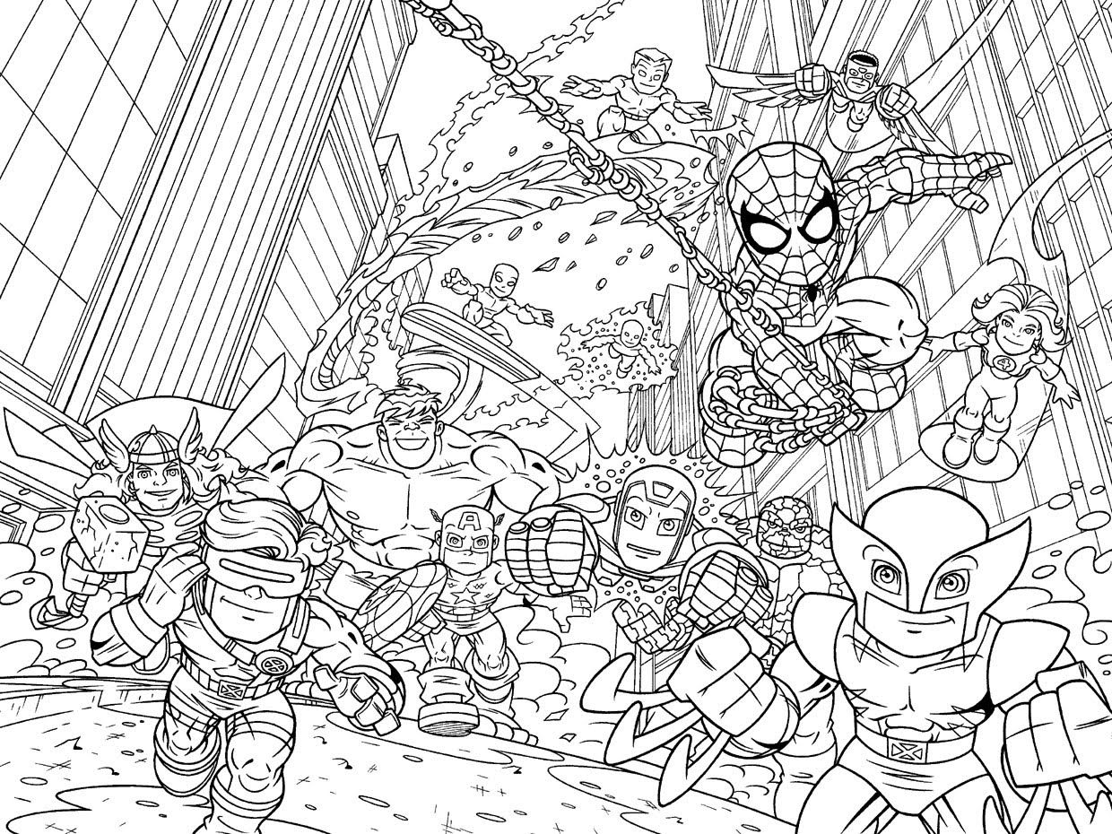 Coloriage adulte marvel