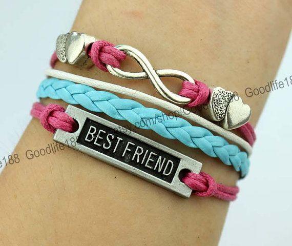 25f710fdad0a deseo de plateado mejor amigo infinito karma pulsera pulsera corazón Pulsera  mejor regalo para el amigo-Q668