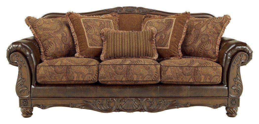 Ashley Furniture Signature Design Fresco Sofa With 5 Pillows 3 Seats Grand Elegance Brown Antique Sofa Antique Living Rooms Sofa Upholstery