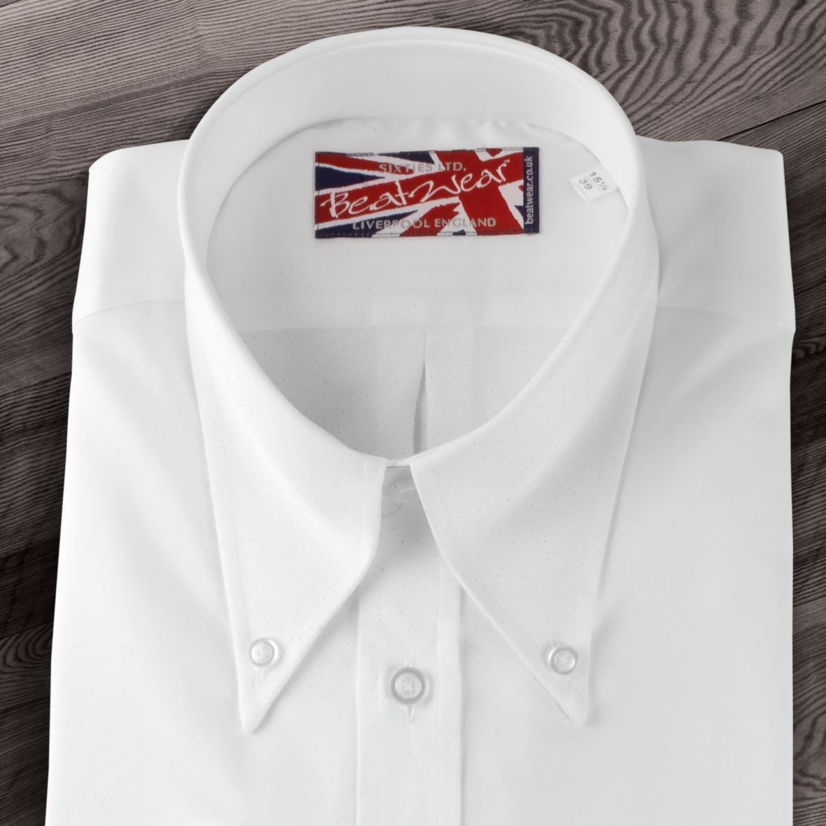 Long Pointed Button Down Double Cuff White Shirt Style