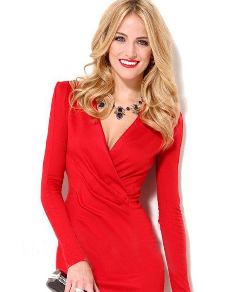 Red vneck long sleeve polyster dress dress to impress pinterest