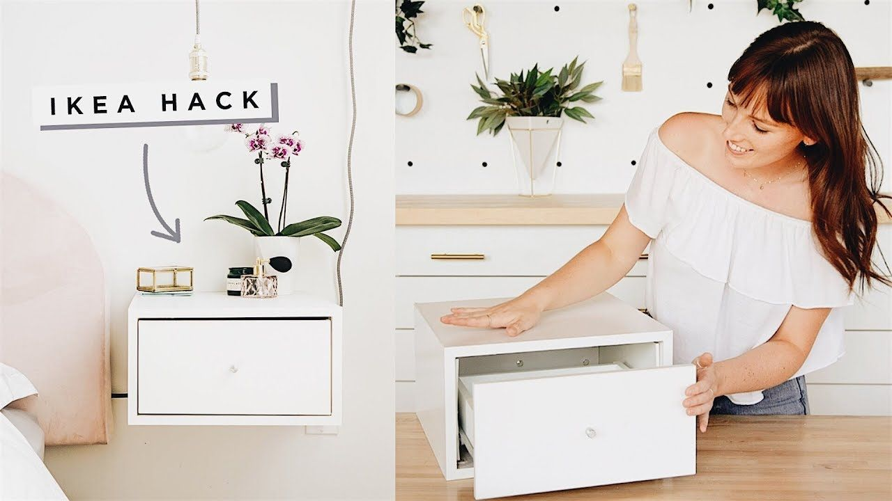 Floating Nightstands Ikea Hack Youtube Floating Nightstand