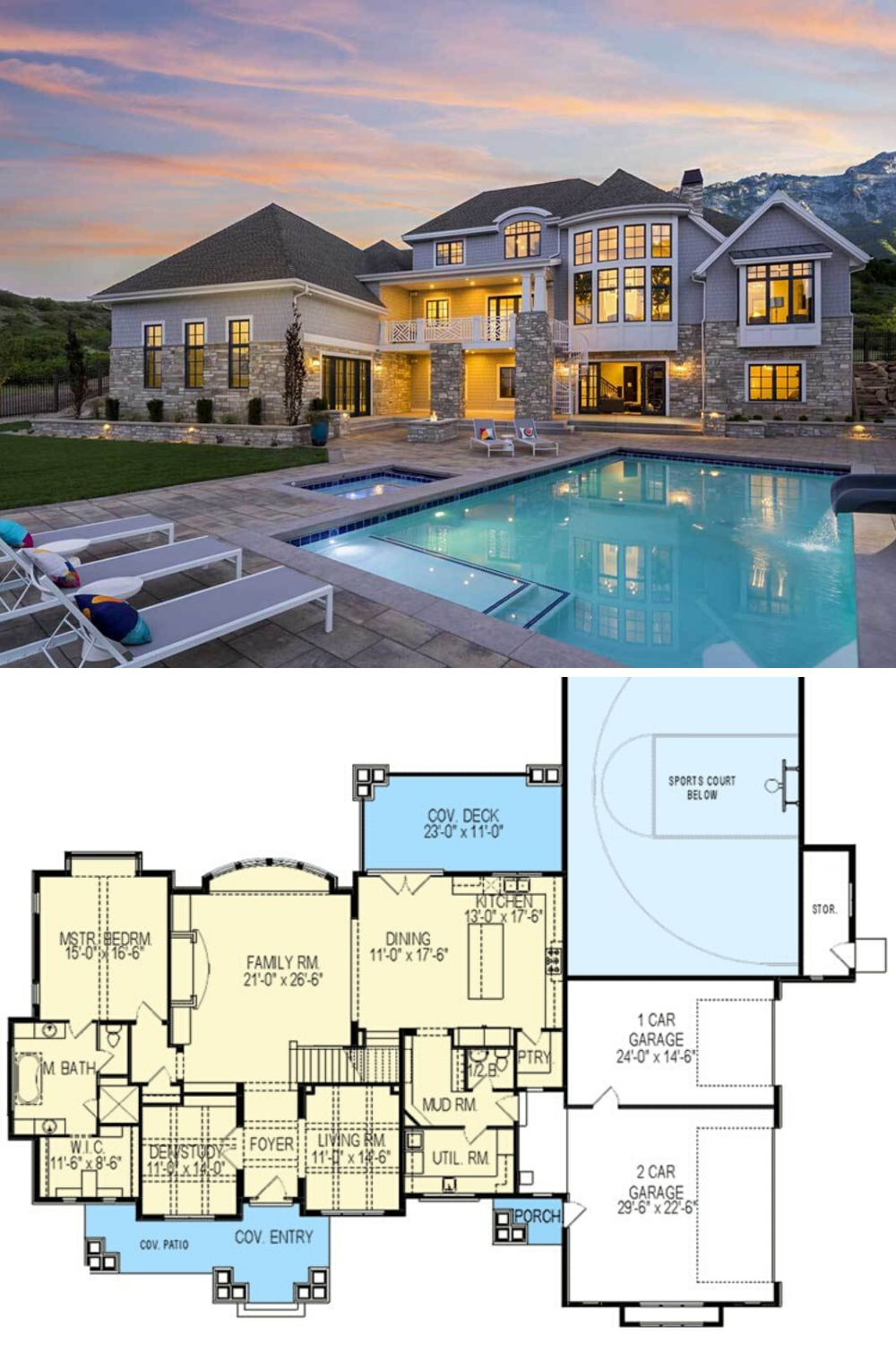 6 Bedroom Two Story Northwest Home With Sports Court Floor Plan Pool House Plans Mansion Floor Plan Craftsman House Plans