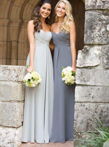 Modern A-line Sweetheart Ruched Floor-length Chiffon Bridesmaid Dress