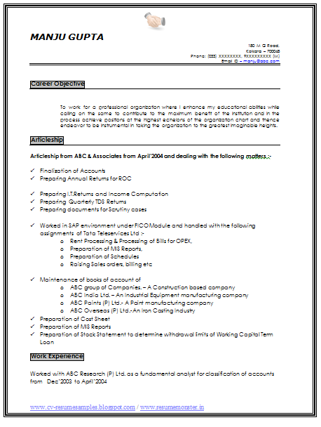 resume sample of an experience chartered accountant with great career objective job profile and