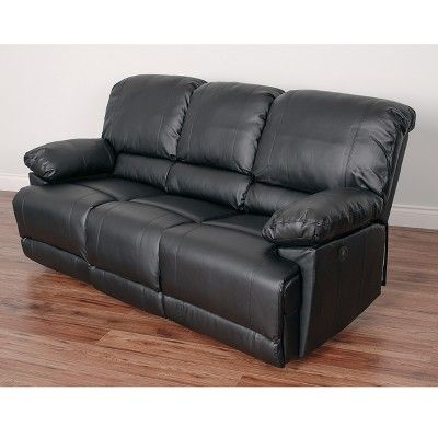 Leather Power Reclining Sofa With Usb Port Black Corliving