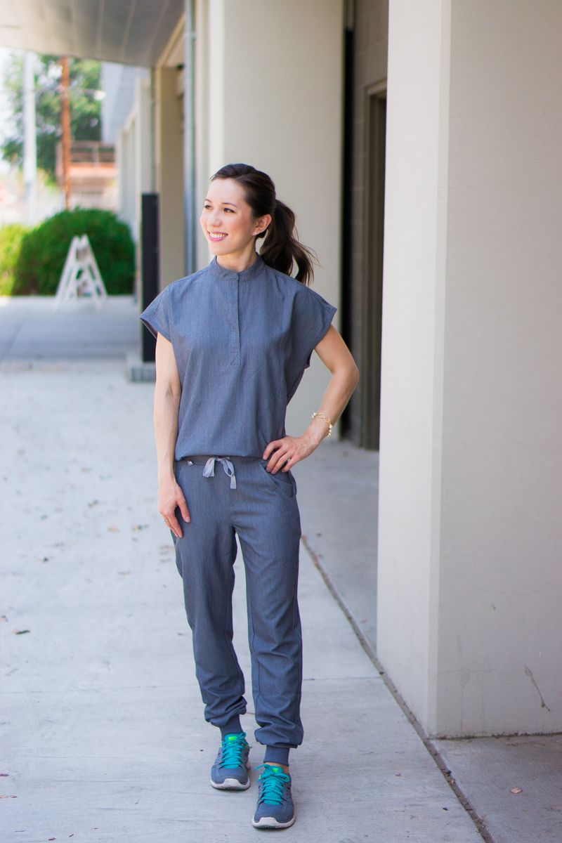 70c0f41d6 Honest Wear FIGS scrubs review | Zamora Jogger Scrub Pant | Rafaela Mandarin  Collar Scrub Top
