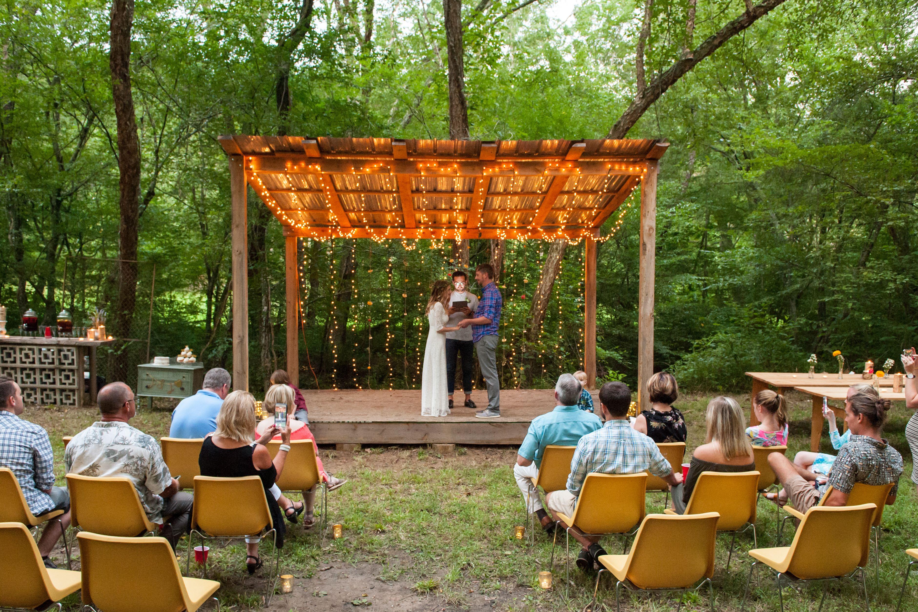 Vow Renewal In Woods Ceremony Ideas I Do Take Two Simple 10 Year Vow Renewal Rustic Vow Renewal Decor Di Diy Backyard Wedding Backyard Wedding Vow Renewal