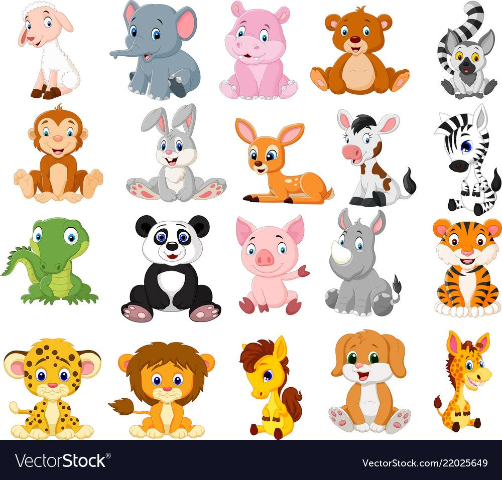 Illustration Of Cartoon Animals Collection Set Download A Free Preview Or High Quality Adobe Ill Cartoon Animals Cute Cartoon Animals Cute Animal Illustration