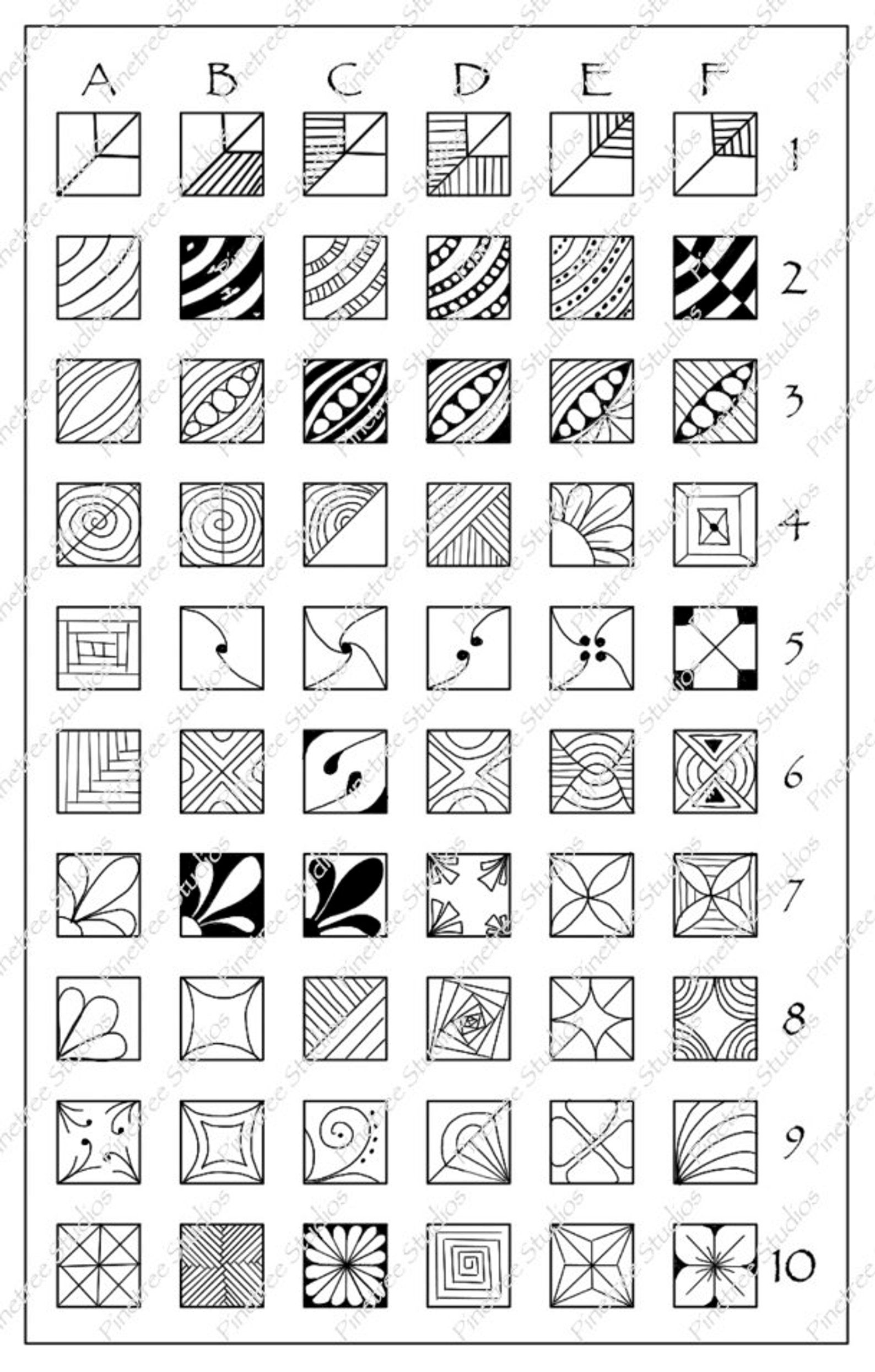 Square Fragments Patterns Chart 5 X 8
