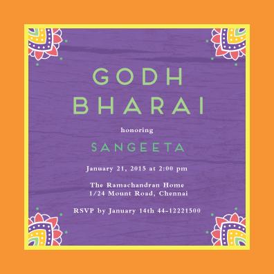 Henna Corners Custom Godh Bharai Invitations Godh Bharai