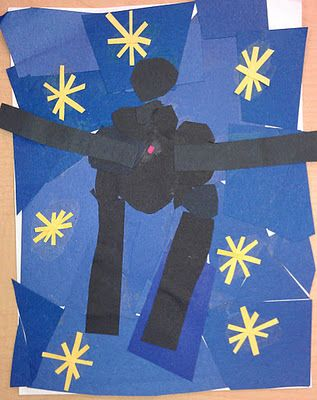 "Kindergarteners made a reproduction of ""Icaru""s by Henri Matisse.  They identified the free form shapes the artist used to form a man flying through space.  They made their own Icarus picture by cutting construction paper into free form shapes and gluing them together."