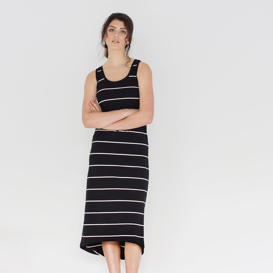 Maxi Tank Dress | Black with Ivory Stripe. Locally made here in the workroom from certified organic cotton. Available online now xx