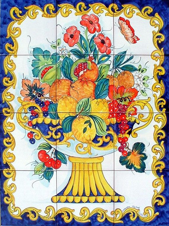 Hand Painted Tile Mural, Fruit Bowl Painting, Decorative Kitchen ...