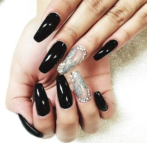 Black Silver Glitter With Negative Spacing Rhinestones