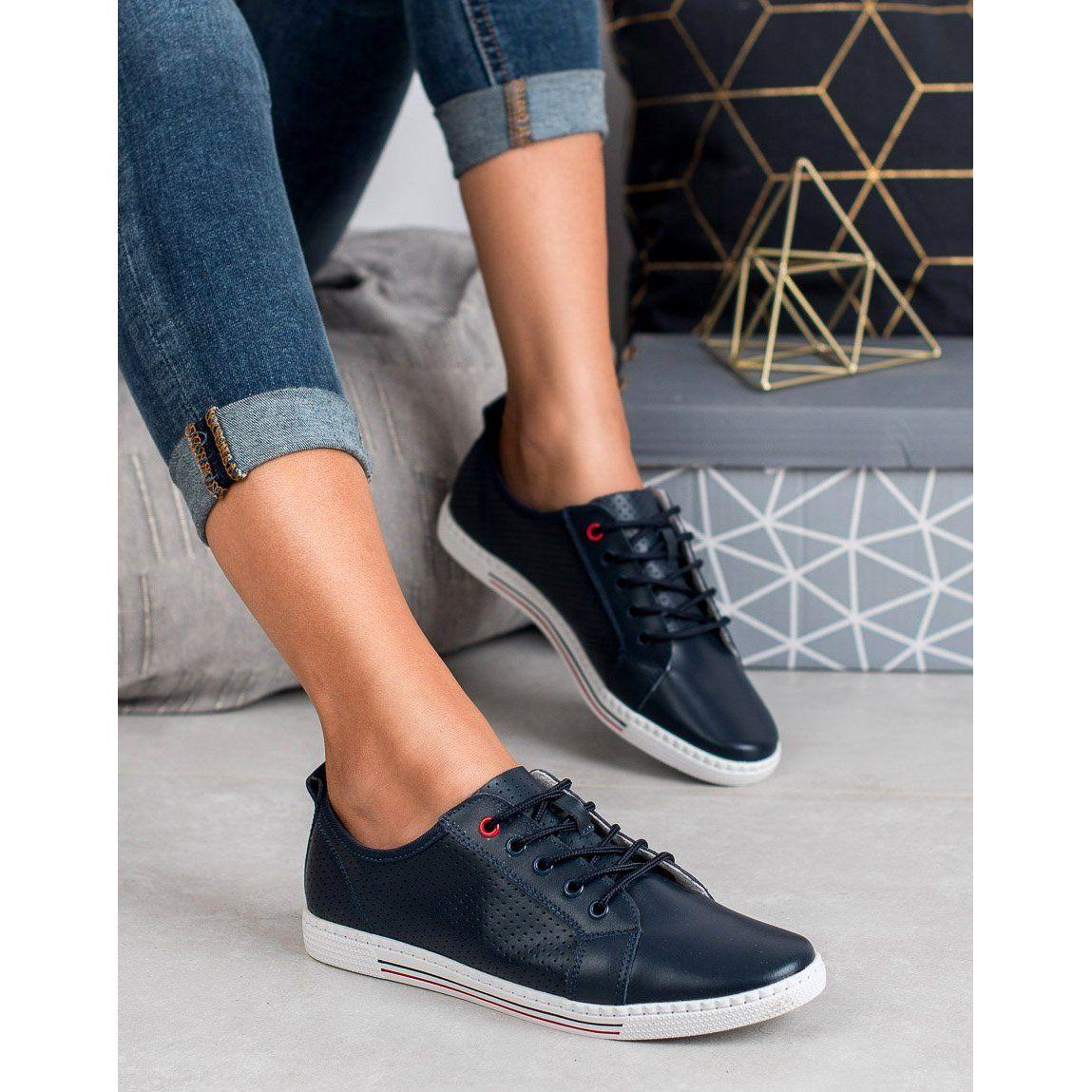 Filippo Skorzane Polbuty Granatowe All Black Sneakers Sneakers Shoes
