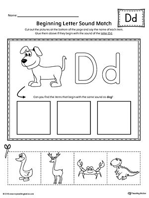 letter d beginning sound picture match worksheet worksheets phonics and language arts. Black Bedroom Furniture Sets. Home Design Ideas