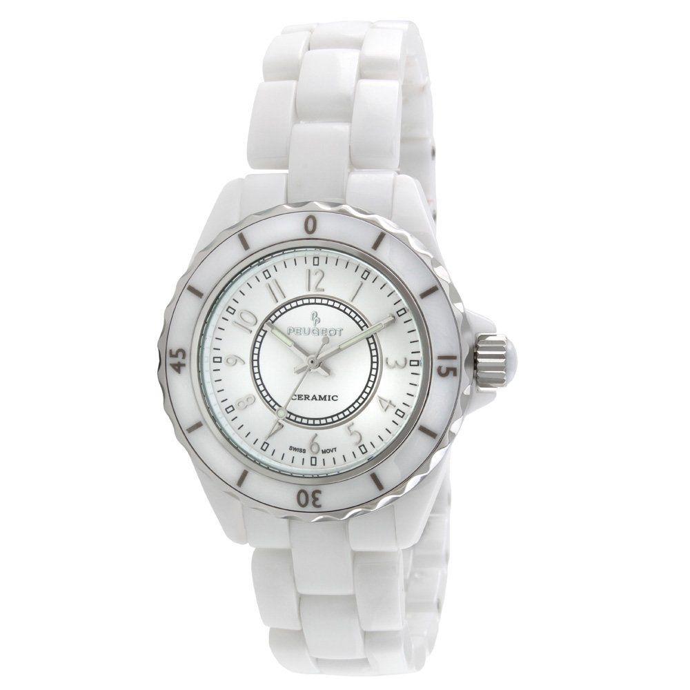 Peugeot Women S Ps4895wt Swiss Ceramic White Sport Bezel Watch Swiss Legend Womens Watch Ceramic White Hot Watch Watche Ceramic Watch Watch Bands Watches
