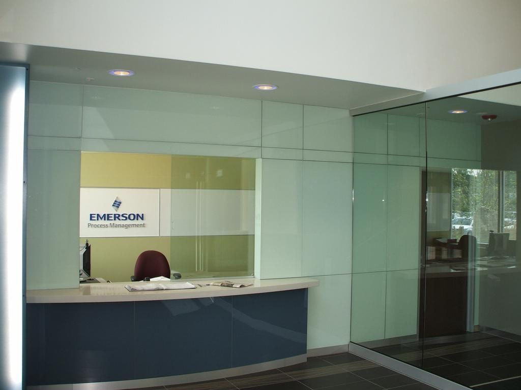 View the entire photo gallery for hillcrest glass office for Office window ideas