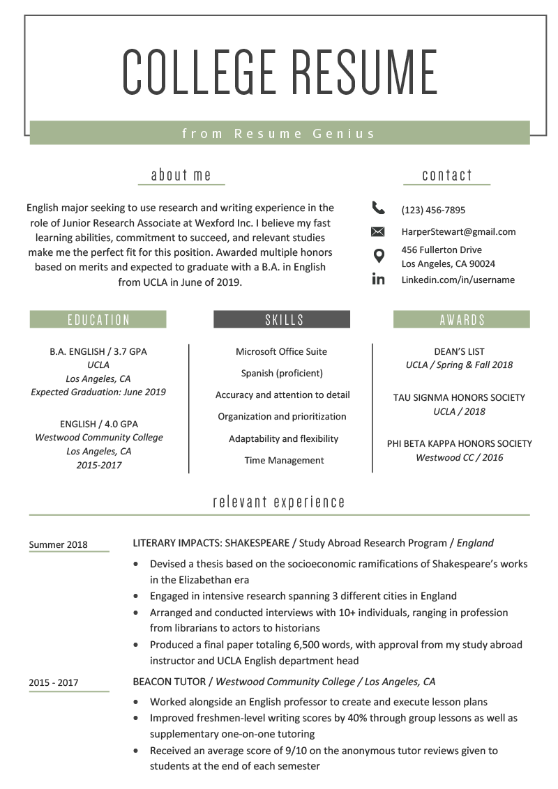 Resume Examples For College Students Seeking Internship