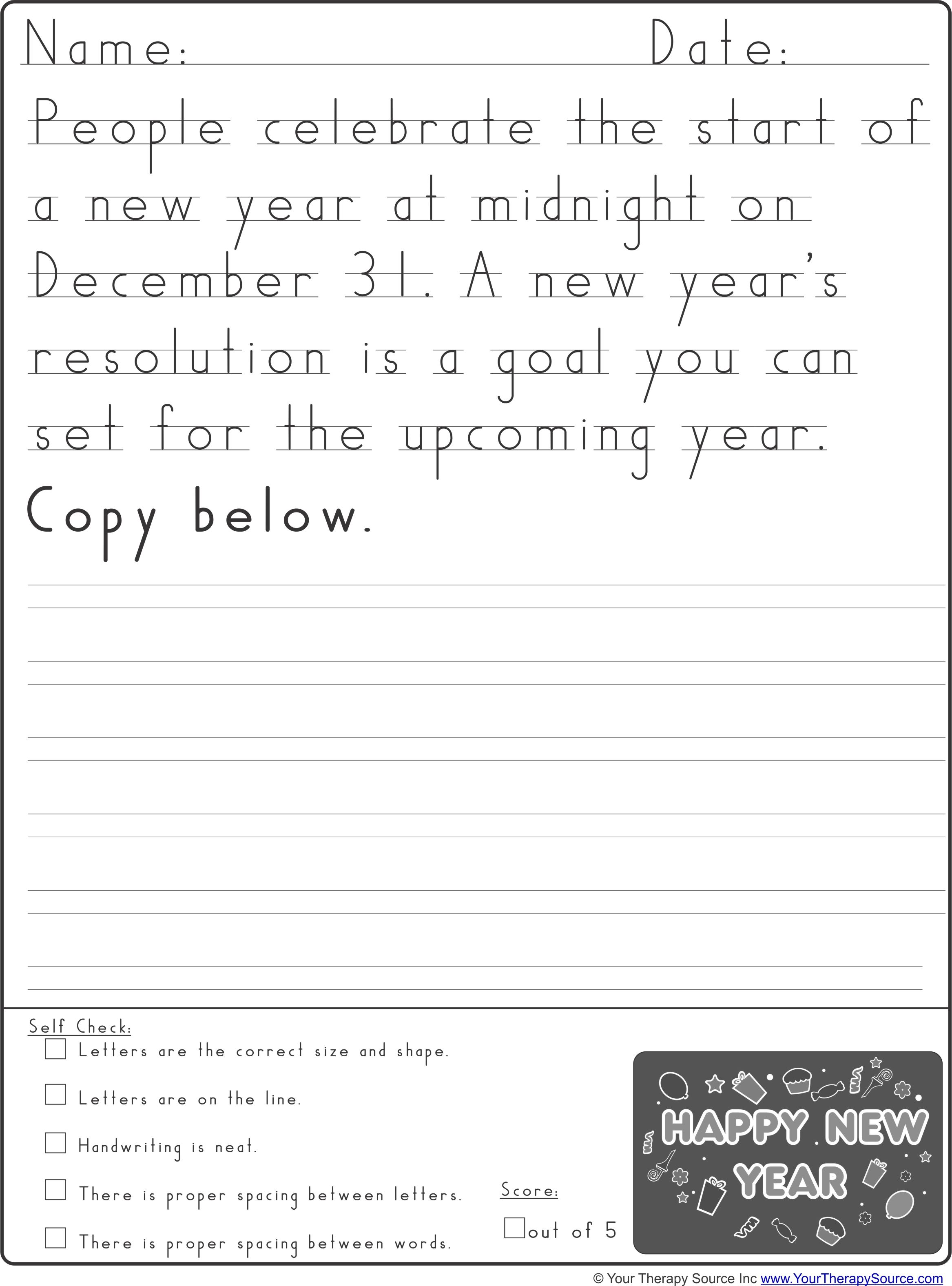 new year handwriting practice from pediatric. Black Bedroom Furniture Sets. Home Design Ideas