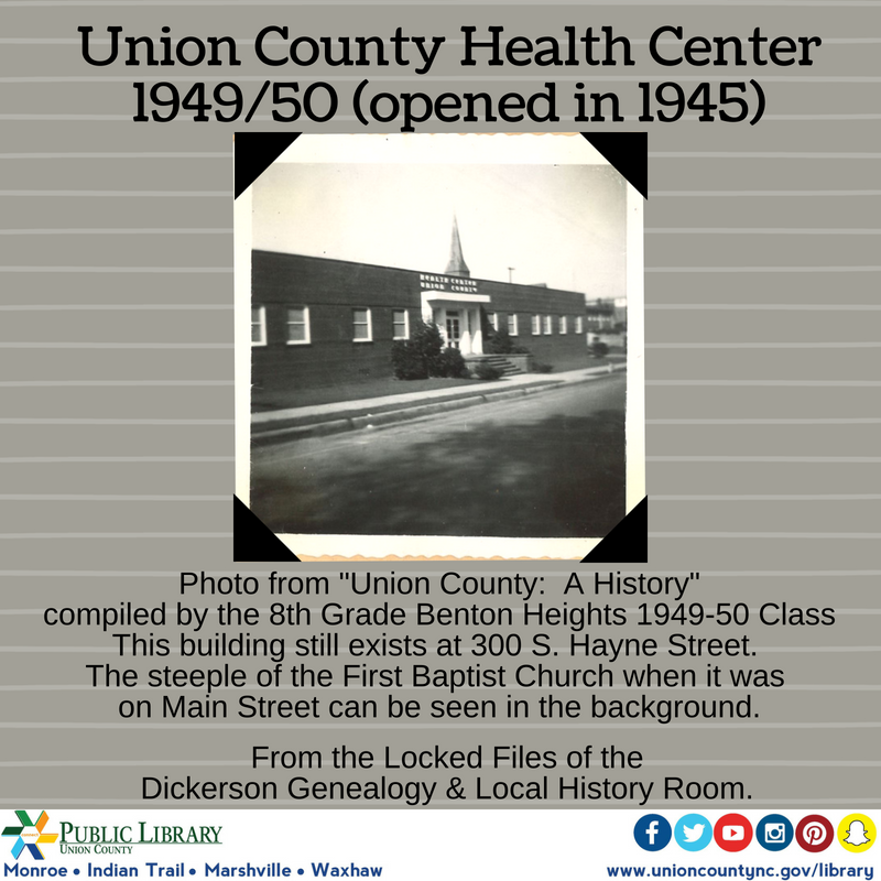 Our First Health Department Building Was On Hayne Street Monroe Nc Here It Is In 1949 50 Through Th Health History North Carolina History History Projects