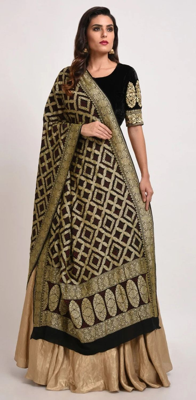 3c8055cff1fa28 Black- Gold Banarasi Zari Bandhej Dupatta With Velvet Blouse And Gold Skirt