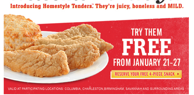 photograph regarding Bojangles Printable Coupons referred to as Bojangles: Get hold of a totally free 4 piece snack (sign up for coupon