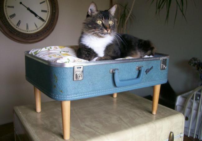 Bonitos muebles reciclados en base a valijas y escaleras - muebles reciclados