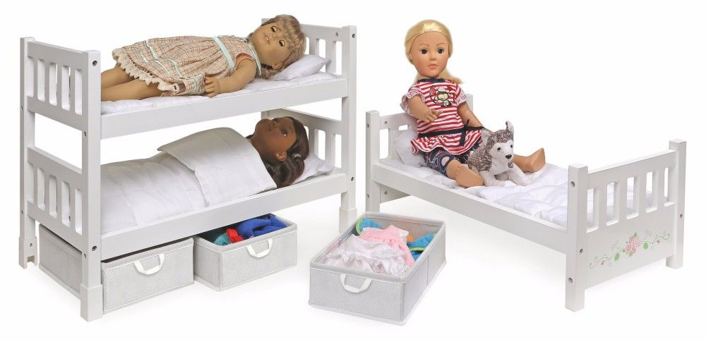 1 2 3 Convertible Doll Bunk Bed W Bedding Storage Baskets And