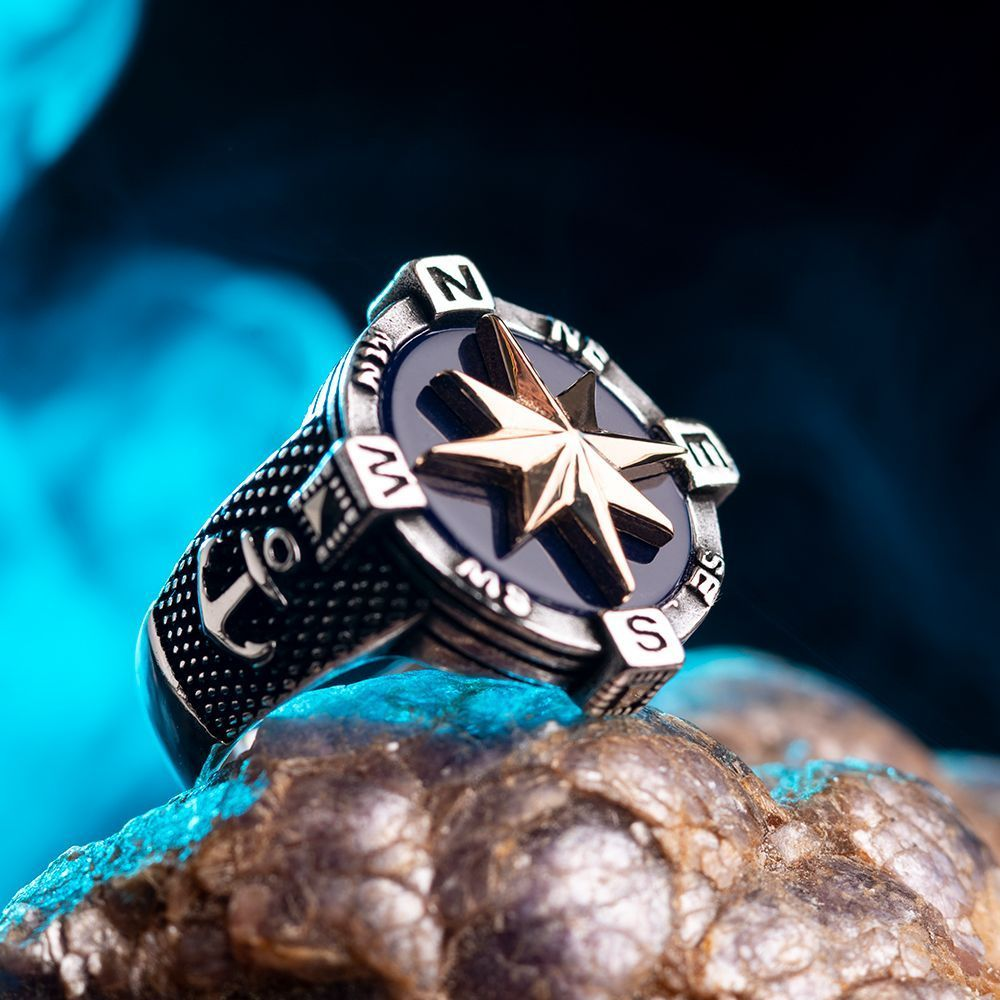 925 Sterling Silver Compass Ring with Anchor Figure
