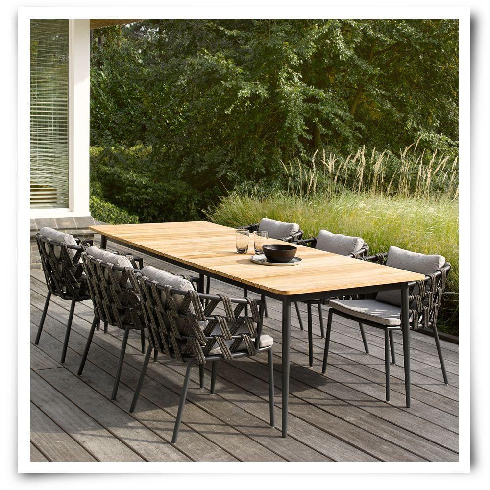 Vincent Sheppard Leo Dining Table Lava Aluminium Solid Teak Slatted Teak Wood Outdoor D Teak Garden Furniture Teak Outdoor Furniture Outdoor Furniture Design