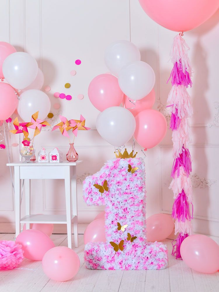 Birthday Party Background Balloons Backdrop Pink Backdrops S 3078