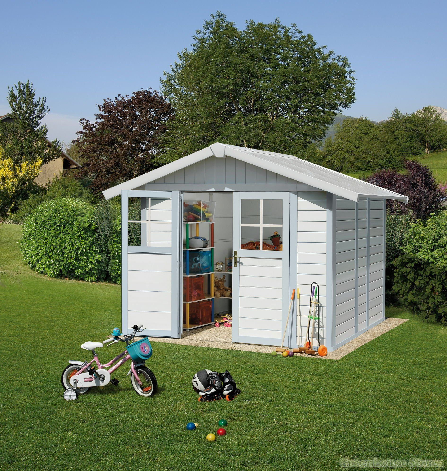 Grosfillex Deco 8x6 PVC Plastic Shed In White & Blue in