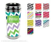 Chevron pattern monogrammed travel tumbler coffee mug.