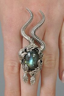 Bob Stringer Sterling Silver + Labradorite Double Snake Ring