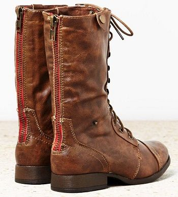 back zip, mid calf, brown leather boots with lace up front... they look soft