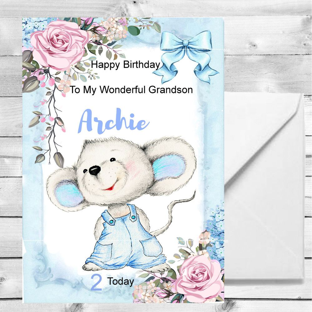 Personalised Boys Birthday Card 1st 2nd 3rd 4th Grandson