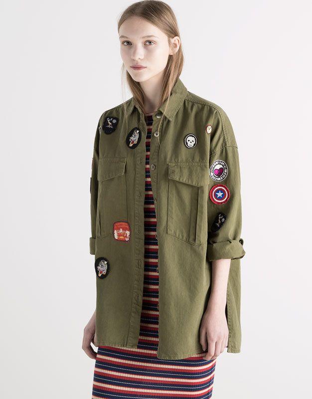 cargo overshirt jackets blazers woman pull bear. Black Bedroom Furniture Sets. Home Design Ideas