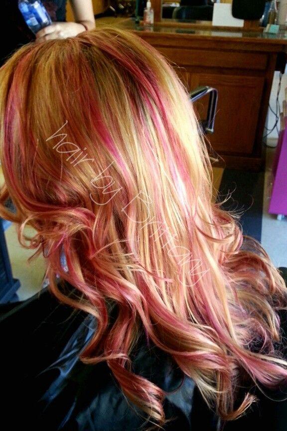Pink Magenta Highlights Blonde Fun Summer Hair Hair By