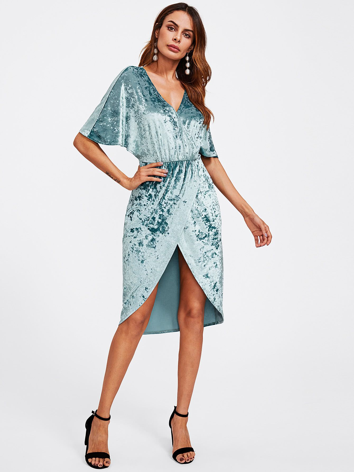 1d12560f68 Shop Dolman Sleeve Crushed Velvet Wrap Dress online. SheIn offers Dolman  Sleeve Crushed Velvet Wrap Dress & more to fit your fashionable needs.