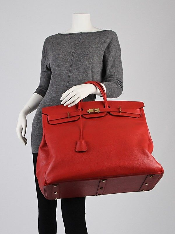 Hermes 50cm Red Clemence Leather Gold Plated HAC Birkin Bag  5b3d8098154be